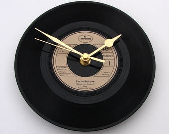 """10cc CLOCK made from a recycled 7"""" single """"I'm Not In Love"""" alternative romantic gift 1980s pop music ten CC black bronze copper beige gold"""
