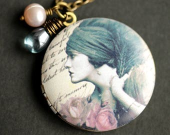 Dreaming Gypsy Locket Necklace. Gypsy Necklace with Blue Teardrop and Lilac Purple Fresh Water Pearl Charm. Bronze Locket. Handmade Jewelry.