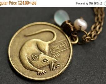 VALENTINE SALE Rat Chinese Zodiac Necklace. Chinese Astrology Necklace. Asian Horoscope Necklace. Rat Necklace. Chinese Necklace. Shēngxiào