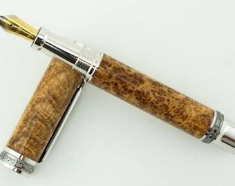 Custom Wooden Pen Beautiful Black Ash Burl Custom Fountain Pen with Emperor Rhodium and Black Titanium 860FPXLB