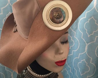 Unique upcycled hat with vintage gloves and button detail