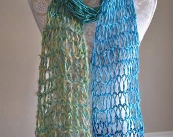 Ribbon Scarf - Hand Knit - Blue Tones - Scarf Style Cowl - Unique Scarf - Beach Scarf - Ladies Summer Wrap - Lacy Accessory - Long Scraf