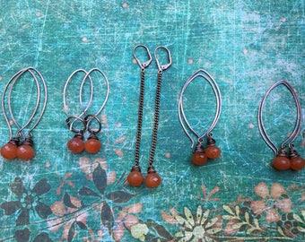 Rustic Jewelry . Carnelian Citrus earrings n279 . simple dangling . boho jewelry . everyday wear . copper . oxidized metal . orange earrings