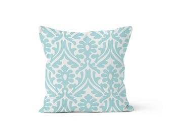 Blue Damask Pillow Cover - Holly Canal - Lumbar 12 14 16 18 20 22 24 26 Euro - Hidden Zipper Closure