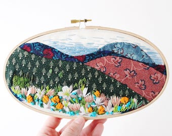 Quilted Embroidery, Mountain Scene, Field of Flowers, Vintage Fabric and Embroidered Floral Design