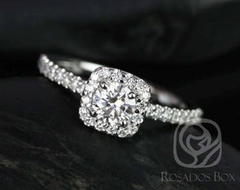 Rosados Box Ready to Ship Mikena 5mm 14kt ROSE Gold Round F1- Moissanite and Diamonds Halo Engagement Ring