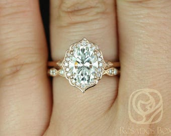 Rosados Box Ready to Ship Mae 9x7mm & Christie 14kt Rose Gold Oval F1- Moissanite and Diamond Halo Wedding Set
