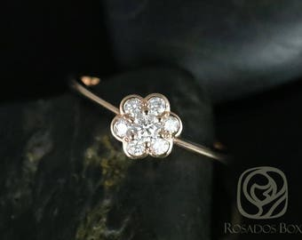 Rosados Box Daisy 14kt Rose Gold WITHOUT Milgrained Flower Diamond Cluster Ring