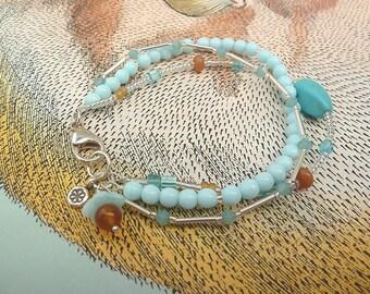 Three Strand Bracelet, Beaded Bracelet, Sundance Style Jewelry, Boho Chic, Blue and Orange, Light Blue Beaded Bracelet, Gifts for Women