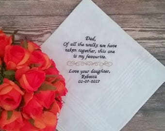 Wedding Handkerchief; Father of the Bride; personalised wedding handkerchief; embroidered hanky; father of the groom; handkerchief; hankie