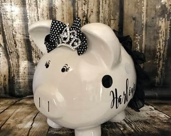 LARGE personalized black and white polka dot piggy bank with crown, girl bank, birthday banks, custom piggy banks, baby's first piggy bank