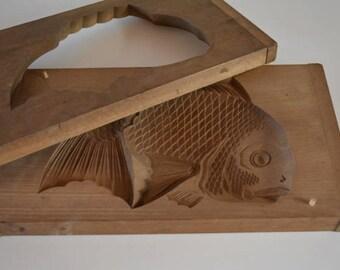 Kashigata sweets mold, very large,  hand carved, antique Japanese kashigata 'tai' fish
