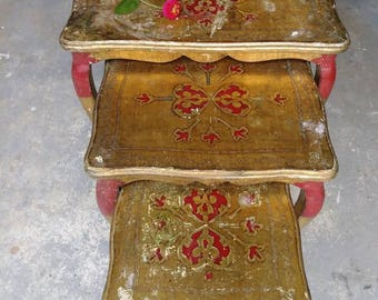 Unique Colorful Red Gold Vintage Nesting Tables,Italian Florentine Tables,  Hand Painted Furniture ,