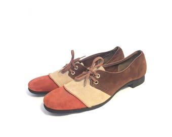 60s suede oxfords, never worn   8.5