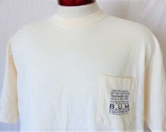 vintage 90s B.U.M. Equipment solid cream natural white graphic t-shirt pocket tee black chest logo print crew neck oversized Large