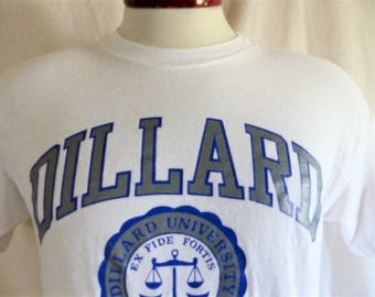 go bleu devils vintage 80's 90's Dillard University white graphic t-shirt blue grey curve college crest seal logo print made in usa Large