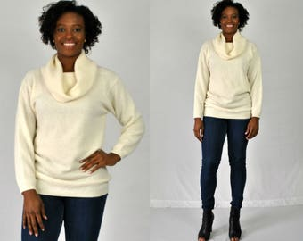 1990s Ivory Cowl Neck Sweater