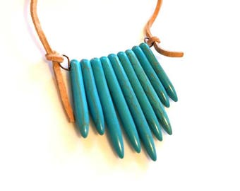 turquoise stone spike pendant necklace blue green Indian necklace nude leather cord necklace long beaded minimalist southwest jewelry