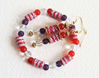 Parure Ethnique Chic - Rouge Afrique - Verre recyclé, Cristal de Roche - Bracelet et Boucles d'Oreilles - Bijoux créateur, pièce unique