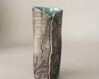 Small Faux Bois Ceramic Vase / Handmade Nature Inspired Small Vase / Celadon Blue