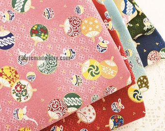 Japanese Kimono Fabric, Cotton Gilding Little Flower Fans Gilded Gold golden Asian Fabric  - 1/2 Yard