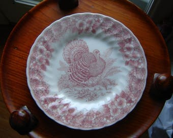Turkey Plate Churchill England 8 Inch Plate Hostess Gift Thanksgiving Plate  Transferware