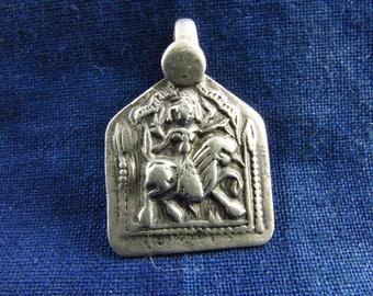 Antique Silver Durga Hindu Amulet