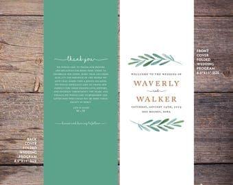 Garden Wedding Program, Printable, Botanical Wedding Program, Greenery, Print at Home, Digital Files - Waverly