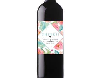 Printable Cheers! Wedding Date Wine Labels Watercolor Floral Custom Wine Labels, Digital File, Personalized Wine Label  - Tallulah