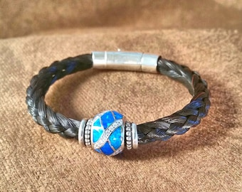 Braided Horsehair Bracelet with Blue Opal and Crystal Inlaid Bead , Sterling Spacer Beads and Sterling Silver Latch clasp