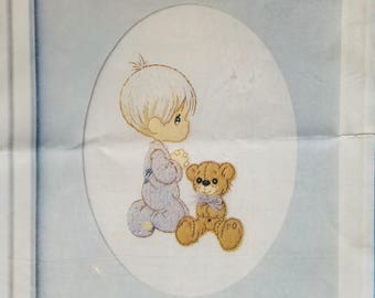 Stitchery Kit Precious Moments Boy & Teddy