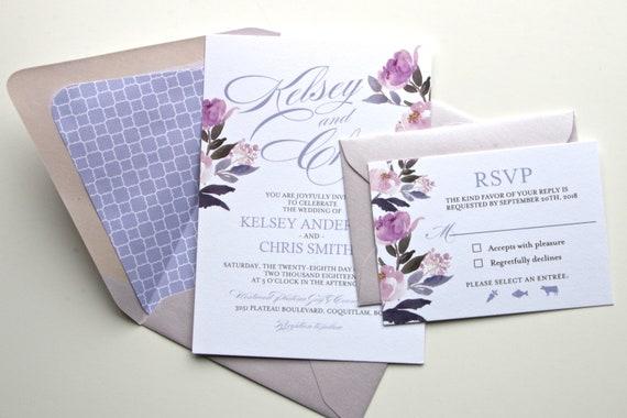 Purple Floral Wedding Invitations Printed Wedding Invitations