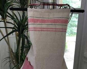 Pink Apron | Initials | Saying | Spring Monogram Apron | Spring Apron | Shabby Chic Apron | Full Apron | French Stripe Apron | Pink Apron