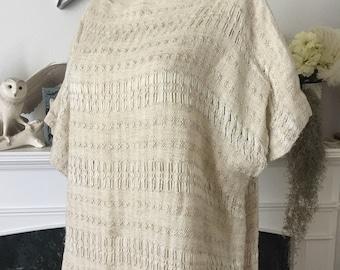 80s Woven Oatmeal Linen Sack Caftan Dress