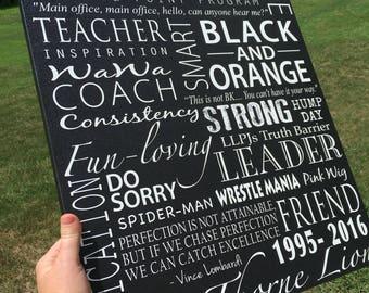 College or high school graduate custom canvas. Collegiate theme word art