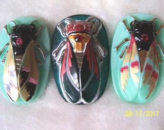 Czech Glass Buttons (3 PCS) Hand Painted SCARAB Cicada 40mm IVA 004
