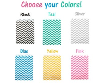 100, 200, 300 Chevron 6x9 inch Treat Bags, Pink, Teal, Blue, Choose your color Striped Food Gourmet bags, Wedding Party Favor Colored Candy