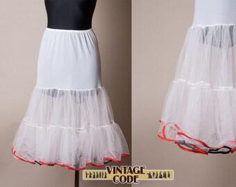 50s tulle petticoat  half slip  / Ruffled Petticoat Underskirt /  Half slip / size medium to large