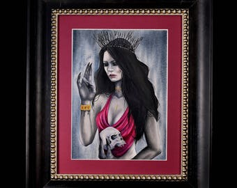 ORIGINAL - Lilith, framed oil painting, macabre, surreal, skull