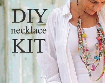 Charm Jewelry, Make Your Own Necklace, Multi Strand Necklace, Fabric Necklace, DIY Projects, Art Kit, Jewelry Making Ideas, Dangle Necklace