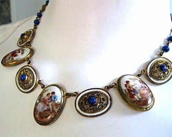 Portrait Necklace Hand Painted Courting Couples, Porcelain Oval Mixed Scenes, Lapis Beads, White Enamel, Pierced Brass Links, Long Choker