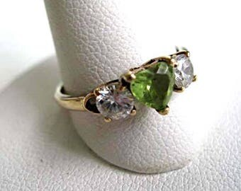 Peridot Heart Ring, August Birthstone, 10k 14k Gold Shank and Mounting, Petite Size 6.5, Gift for Teen, White Topaz Sapphire Accent, 2 Grams