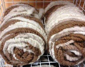 100% NATURAL Brown and White CORE SPUN Suri Alpaca Rug Yarn