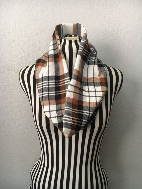 Beige & Light Brown | Soft | Flannel Infinity Scarf — Ready To Ship