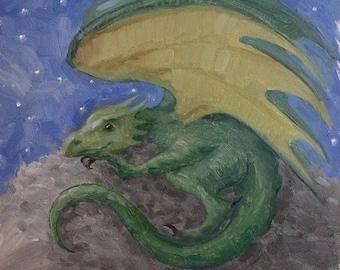 Tiny Green Dragon Painting