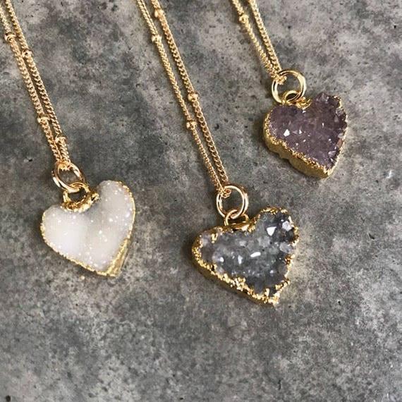 Druzy Necklaces, Druzy Jewelry, Crystal Druzy, Aunt Gift, Bridesmaids jewelry
