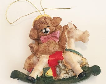 "Vintage 1990s Porcelain Puppy on Rocking Horse Christmas Ornament 2"""