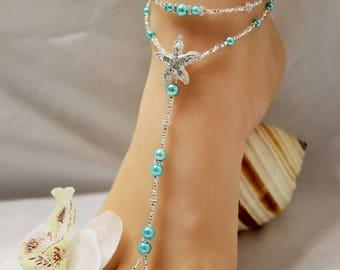 Beach Wedding Barefoot Sandal Barefoot Sandal Foot Jewelry Beach Wedding Barefoot Sandal Crystal Anklet