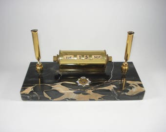 Desk Date Perpetual Calendar - Queen Elizabeth ll Coronation - Marble and Brass Day Display - Office, Desk Accessories - 1953