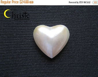 SALE White Heart Mabe Pearl Cabochon 15x16.5mm
